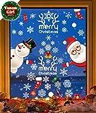Yuson Girl Décoration Déco Noël DIY Fenêtre Noël Stickers Réutilisable Mere pére Noel Bonhomme de Neige Sticker Autocollant Noël Verre Vinyle Amovible Muraux Porte Décoré Noël Maison Murales