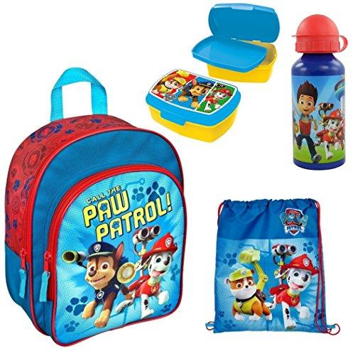 Paw Patrol Rucksack Set 4tlg. mit Brotdose, Trinkflasche und Turnbeutel für Kindergarten / Krippe PPUT7601 - Paw Rucksack