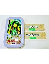 1oz Bob Marley (Gris), diseño de tabaco/Bolsillo/Stash lata + 2Mascotte orgánico verde estándar folletos Combo se vende por Trendz