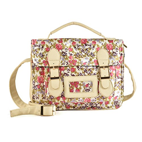 Borsa Tracolla Messenger Stampato Floreale Ladies Fashion Bag Mobile Messenger Beige