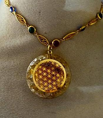 pendentif orgone pierre fleur de vie citrine