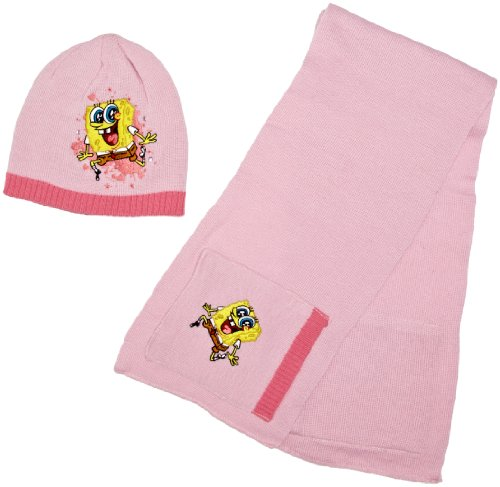 Nickelodeon Spongebob Schwammkopf, Mütze und Schal Set für Mädchen, H11F4339 Gr. S/M, rose (Schwammkopf-kleidung Spongebob)