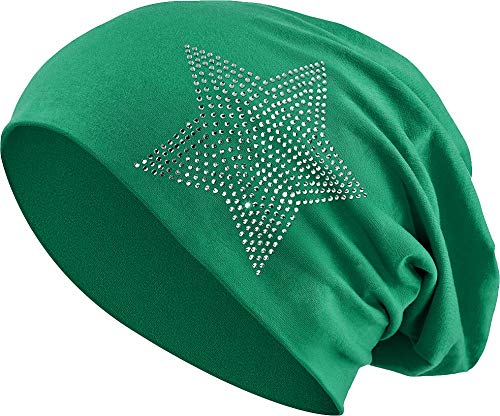 Jersey Baumwolle elastisches Long Slouch Beanie Unisex Herren Damen mit Strass Stern Steinen Mütze Heather in 35 (2) (Dark Green) - Heather Dark Green