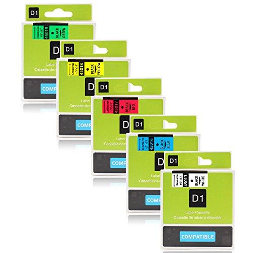 5x Labelwell 12mm x7m Compatibile DYMO D1 45013 45016 45017 45018 45019 Nastri Etichette Multicolore per Dymo LabelManager LabelPoint 100 110 120P 150 160 PC PnP LabelWriter 450 Duo Etichettatrice