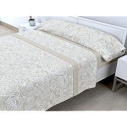 Cabetex Home - Juego de sábanas termicas de pirineo - 3 Piezas - 120 Gr/m2 - Mod. IRES (Beige, 150_x_190/200 cm)
