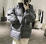 PAWSKDNNA Daunenjacken Hut Daunenjacke Damen Winter Lose Große Größe Einfache Große Tasche Brot Kleid Dicker Mantel, M, Blau Grau