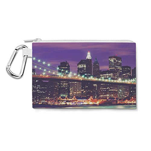 NEW YORK CITY AT NIGHT en toile avec fermeture éclair – Trousse multiusage Sac en 6 tailles Small Canvas Pouch 7x5 inch violet