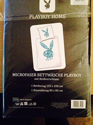 Bettwäsche Playboy Home Bunny Water Microfaser Bezug 135x200cm Kissen 80x80cm mit Reißverschluss 100%Polyester