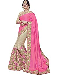 SareeShop Women's Georgette Embroidered Saree With Blouse Piece(Lakshmi-4012-SAREE01_Pink_COLOUR)