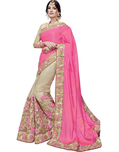 SareeShop Women\'s Georgette Embroidered Saree With Blouse Piece(Lakshmi-4012-SAREE01_Pink_COLOUR)