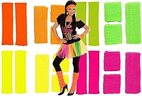 80er Neon Schweißband Stirnband Stulpen Set 4 Farben (orange)