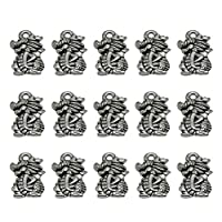 TENDYCOCO 50pcs Vintage pendant charms dragon pendants alloy charms bronze diy crafting jewelry making accessory (Antique Silver)