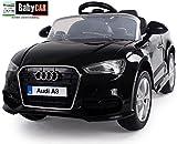 Babycar 99852N-Coche eléctrico para niños Audi A3con Mando a Distancia, 12V, Negro