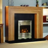 Electric Oak Wood Surround Black Hearth & Back Panel Modern Silver LED Flame Fire Wall Fireplace Suite 48""