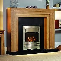 "Electric Oak Wood Surround Black Hearth & Back Silver Coal Fire Modern Fireplace Suite - 54"""