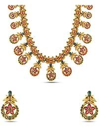 Kalyani Covering Gold Brass Kundan Long Necklace Set For Women & Girls.