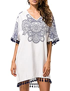 Zhhlaixing Moda Women Casual Floral Pattern Loose Dress Sunscreen Seaside Dress with Tassel