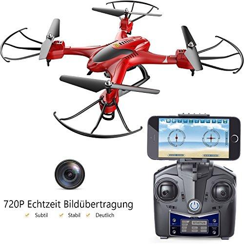 Preisvergleich Produktbild Holy Stone WIFI FPV HS200 Ferngesteuerte Drohne mit 2MP HD Kamera RC Helikopter Quadrocopter,APP Steuern,Kopflosmodus Drone mit 4GB TF Karte Rot