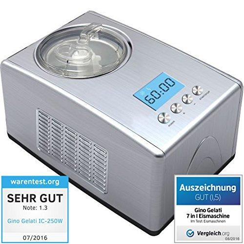 7in1 Edelstahl Eismaschine mit Kompressor-Frozen Yogurt-Milchshake Maschine-Flaschenkühler Gino Gelati IC-250W