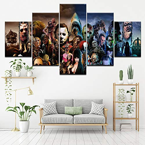 Halloween Mas Gifts Wall Art Printed Canvas Poster 5 Piece Horror Movie Characters Group Painting Frame Home Decor Picture Wall Paintings ()