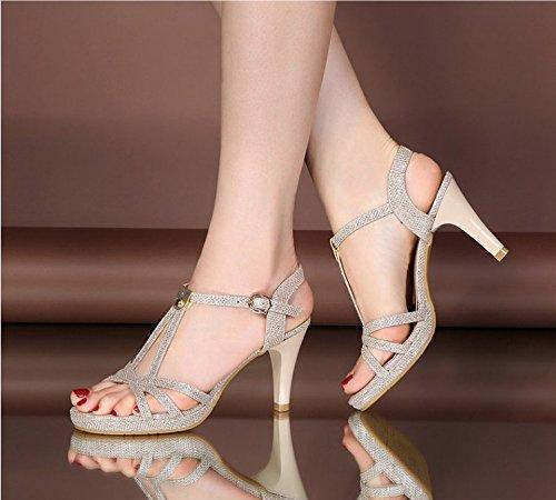 Xing Lin Sandales Pour Dames Été De Nouvelles Chaussures À Talons Hauts Avec Des Chaussures En Cuir Épais De Paillette Femmes Antidérapant Sandales À La Fin De LÉpaisseur Gold