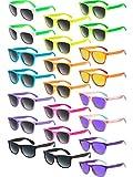 Norme 22 Pezzi Occhiali da Sole al Neon Retrò 80s Occhiali da Sole Favori Occhiali da Sole da Party per Bambini e Adulti Regali per Feste