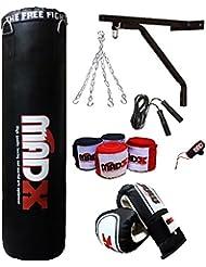 MADX - Saco de boxeo con relleno (152,4 cm, incluye cadena, soporte, guantes, cuerda), color negro