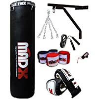 Madx - Sacco da boxe con imbottitura pensante, 1,5m, colore nero, con catena, staffa, guanti,