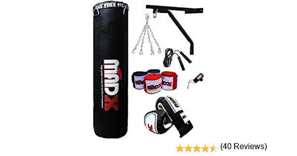 Madx Lot de 10 pi/èces pour sac de frappe lourd rembourr/é Noir 1,2 m ou 1,5 m gants MMA support mural