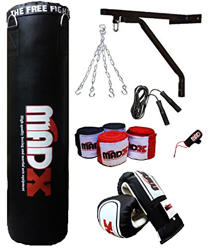 MADX - Saco de boxeo con relleno (152,4 cm, incluye cadena, soporte, g