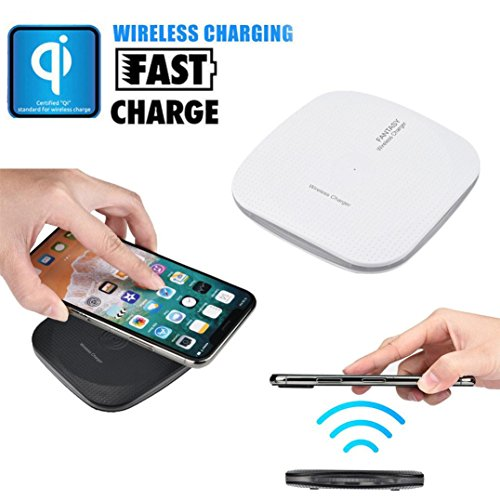 TPulling White Black Portable Square Apple Wireless Charge Portable Mini Acrylic QI Wireless Charger Charging Pad Mat For Iphone 8/8 Plus/X