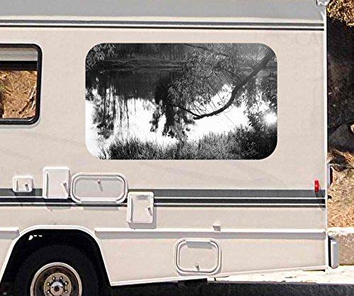3D Autoaufkleber Landschaft Baum Birke Sonne Wasser schwarz weiß Wohnmobil Auto KFZ Fenster Sticker Aufkleber 21A500, Größe 3D sticker:ca. 45cmx27cm (Fenster Landschaft Birke)
