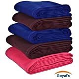 Goyal's Plain Fleece Double Bed Blanket (Blue, Red and Coffee, 90x90-inches) - Set of 5