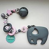 Schnullerkette mit Namen Gravur Beißkette Glocke Silikon Elefant Motorik Geschenk Taufe Geburt individuell Stern | Mädchen rosa Namenskette