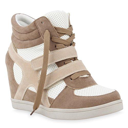 Sportliche Damen Sneakers Sneaker Wedges Glitzer Lochung Keilabsatz Wedge Sport Schuhe 110217 Hellbraun 40 Flandell