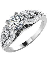 IskiUski White Gold And American Diamond Ring For Women - B075VH9QMN
