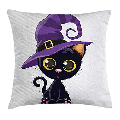 w Pillow Cushion Cover, Lovely Kitty Character in a Witch Hat Halloween Theme Childish Kids Mascots, Decorative Square Accent Pillow Case, 18 X 18 inches, Indigo Purple Yellow ()