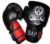 BAY® LEON Kinder Boxhandschuhe 4 6 8 10 Unzen Mini Box-Handschuhe Kids Junior Jugendliche schwarz rot UZ OZ Kinderboxhandschuhe klein