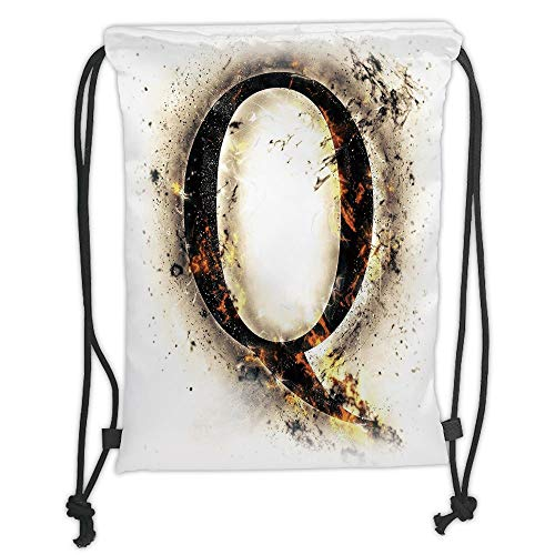 LULUZXOA Gym Bag Printed Drawstring Sack Backpacks Bags,Letter Q,Words in Flames Gothic Style Influential Names Hazy Fire Featured Alphabet,Tan Black Orange Soft Satin -