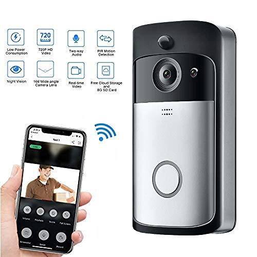 Video Doorbell, Inalámbrico Videoportero Impermeable 720P HD con Audio Bidireccional Detección de Movimiento y Conexión wi-fi App for iOS/Android/Windows