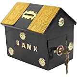 ITOS365 Handicrafted Wooden Money Bank Home Style Black Kids Piggy Coin Box Gifts