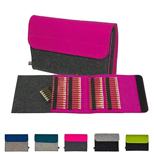 Premium Taschenapotheke von ebos | handgefertigte Reiseapotheke aus echtem Wollfilz | 64 Schlaufen für Globuli-Fläschchen, Globuli-Röhrchen | Globuli-Tasche, Globuli-Etui, Globuli-Mäppchen, Globuli-Täschchen als Set zur Aufbewahrung von homöopathischer Hausapotheke | pink