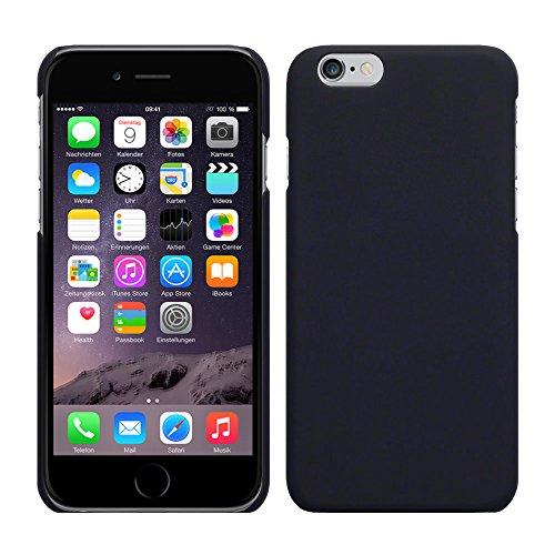 Apple iPhone 6 - Rubber Schutzhülle Gummiert Hybrid Hard Case Schutz Cover Etui Hülle Tasche in Schwarz Schwarz