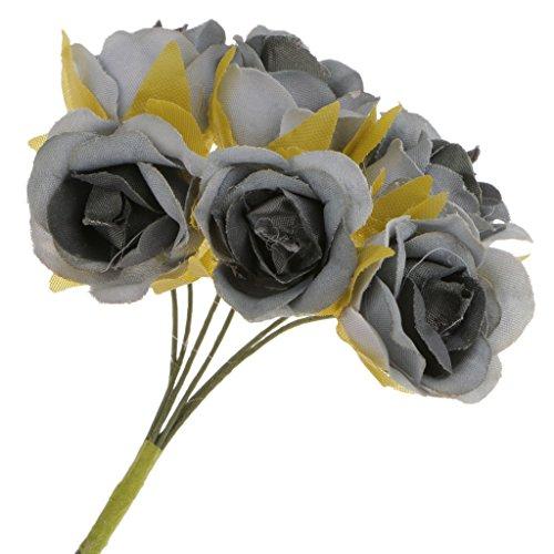 60x Kunstblumen Artificial Stieg Für Brautstrauß Handgelenk Corsage Blumen DIY Hochzeit - Grau, 10cm