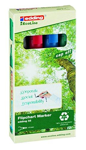 edding 32 Eco Line Flipchart Marker - 4er Set - Je 1x schwarz, rot, blau, grün - Speziell zum Beschriften von Flipcharts und Moderationskarten - Keilspitze