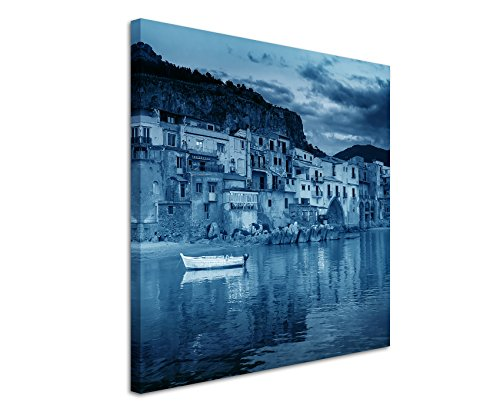 80x 80cm-quadro da parete su tela fotografica in blu porto pelli Sicilia