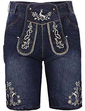 kurze Herren Trachten-Hose (Jeans Stretch) mit Trachten-Stickerei im Lederhose-Stil, blau, Jeanshose Oktoberfest