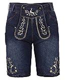 Kurze Herren Trachten-Hose (Jeans Stretch) mit Trachten-Stickerei im Lederhose-Stil, blau, Jeanshose Oktoberfest, Größe 54