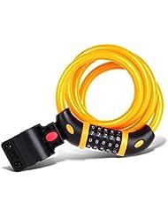 Yiran® Bike Lock, cable de 1,2m con candado de combinación de 5dígitos, mejor para bicicleta al aire libre, naranja