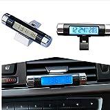 Fomccu Car Thermomètre Horloge Calendrier LCD Clip-On Digital rétroéclairé pour automobile